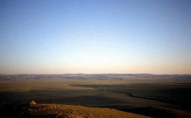 Mongolian steppe, sun is about to set