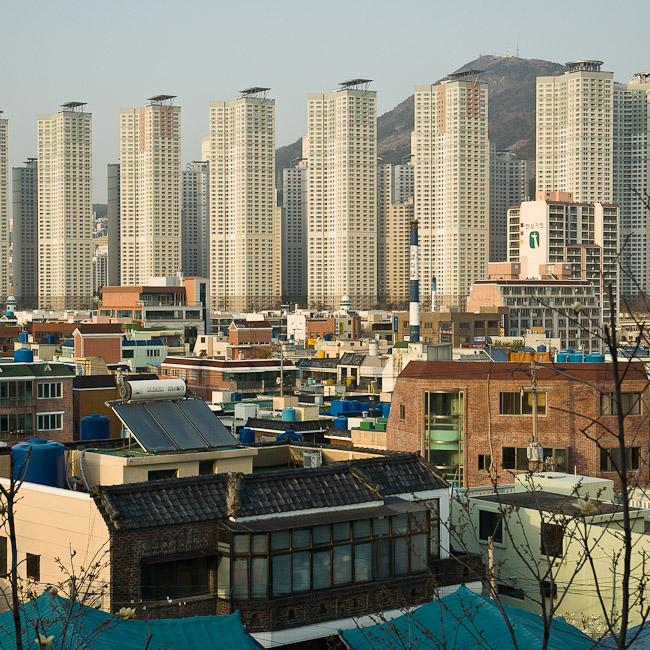 High rise apartment buildings replacing traditional houses – Busan, Korea