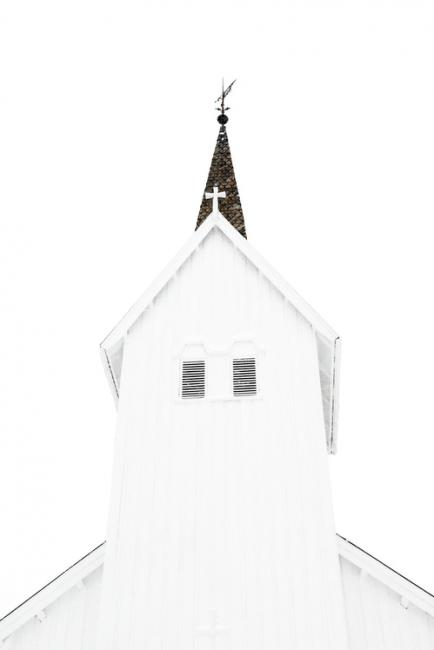 White church in white environment