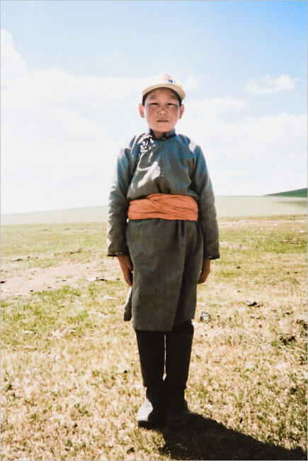 Mongolian boy on the steppe