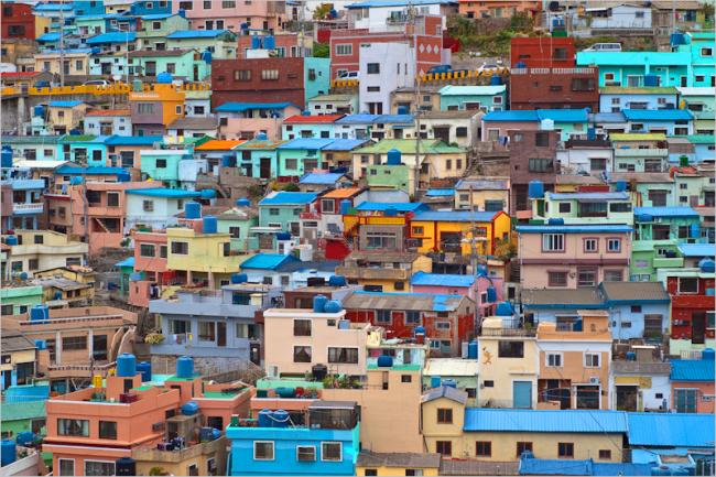 Densely and colorful township in Busan, Korea
