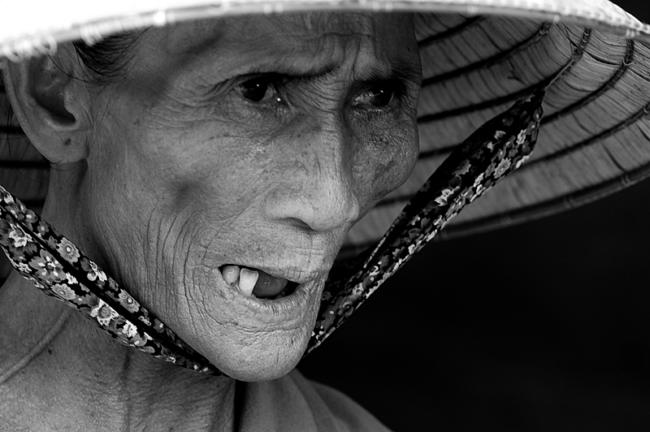 Portrait of a woman with a sharp eye, Vietnam